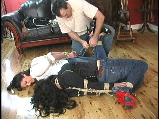 christina carter and jj elbow tied in tight jeans and stilettos